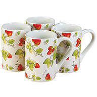 Strawberry Chintz Mugs, Set of 4 by William Roberts