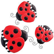 Metal Ladybug Hangers, Set of 3