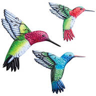 Metal Hummingbird Hangers, Set of 3