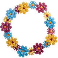 "16"" Metal Pastel Floral Wreath"