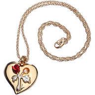 Heart Pendant with Satin Roses Necklace