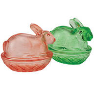 Green and Pink Glass Bunny Candy Dish Set