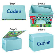 Personalized Foldover Toy Box with Play Mat, Blue Garage