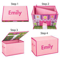 Personalized Foldover Toy Box with Play Mat, Pink Castle