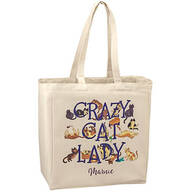 Personalized Crazy Cat Lady Tote