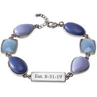 Personalized Blue Stone and Lace Agate Bracelet