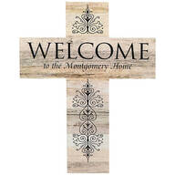 Personalized Rustic Style Cross, Welcome