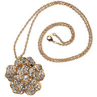 Goldtone Flower Pendant and Brooch Combination Necklace