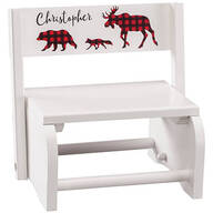 Personalized Children's White 2-in-1 Buffalo Plaid Stool