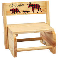 Personalized Children's Natural 2-in-1 Buffalo Plaid Stool