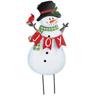 Metal JOY Snowman Yard Stake by Fox River Creations™