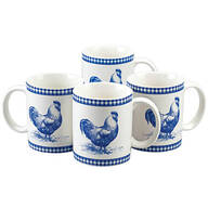 Blue Rooster Mugs, Set of 4 by William Roberts