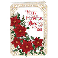 Personalized Poinsettia Collage Christmas Card set of 20