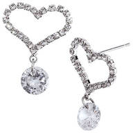 Heart Shaped CZ Earrings with Crystal Dangle