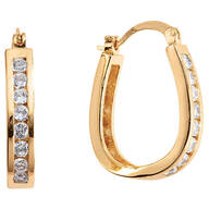 Simulated Diamond Oval Hoop Earrings