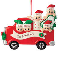 Personalized Red Truck Family Ornament