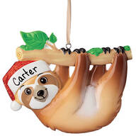 Personalized Santa Sloth Ornament