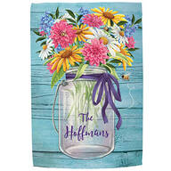 Personalized Mason Jar Floral Garden Flag
