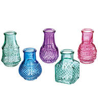 Mini Colored Glass Vases, Set of 5