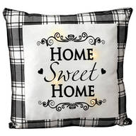 Home Sweet Home Black Plaid Light-Up Pillow