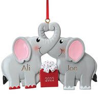 Personalized Kissing Elephants Ornament