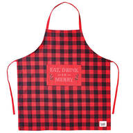 Eat, Drink & Be Merry Buffalo Plaid Apron