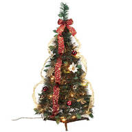 3' Burgundy & Gold  Victorian Pull-Up Tree by Holiday Peak™