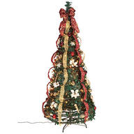 6' Burgundy & Gold Victorian Pull-Up Tree by Holiday Peak™