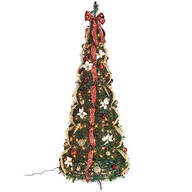 7' Burgundy & Gold Victorian  Pull-Up Tree by Holiday Peak™