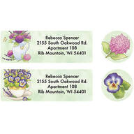 Personalized Lavender Floral Label and Seal set of 20