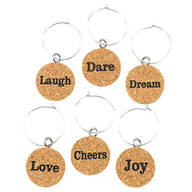 Inspirational Cork Wine Charms Set of 6