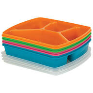 4-Section Microwave Tray with Lid, Set of 4
