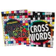 Large Print Crossword Puzzle Books, Set of 2
