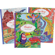 Adult Coloring Books: Travel, Rain Forest, Yoga, Set of 3