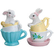 Resin Bunnies in Teacups, Set of 2 by Holiday Peak™
