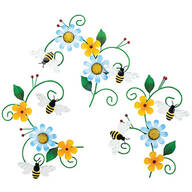 Bee and Flower Hangings, Set of 3 by Fox River™ Creations