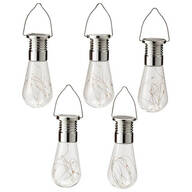 Edison-Style Colorful Solar Hanging Bulbs, Set of 5