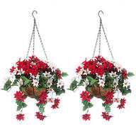 Fully Assembled Mini Poinsettia Hanging Baskets, Set of 2