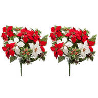 "21"" Poinsettia & Pinecone Bush by OakRidge™, Set of 2"