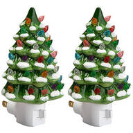 Green Snow-Capped Ceramic Tree Night Light, Set of 2