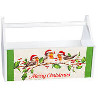 Merry Christmas Bird with Hats Trough Caddy