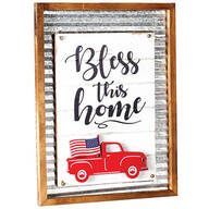 """Bless this Home"" Holiday Sign with Interchangeable Trucks"