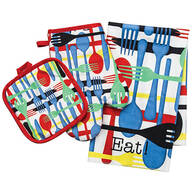 Whimsical Kitchen Towel, Oven Mitt & Pot Holder Set