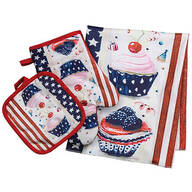 Patriotic Cupcake Kitchen Towel, Oven Mitt & Pot Holder Set