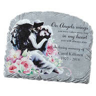 Personalized Floral Angel Garden Stone
