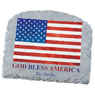 Personalized God Bless America Flag Garden Stone