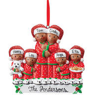 Personalized Darker Skintone Family in Pajamas Ornament