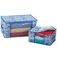 Blue Print Storage Bags, Set of 2