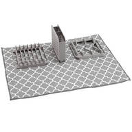 Dish Drying Mat with 3-Section Rack
