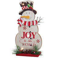 """""""Joy to the World"""" Lighted Snowman Tabletop Piece by Holiday Peak™"""